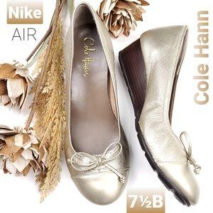 Nike Air Cole Haan Gold Silver BabyDoll Wedge 7.5B